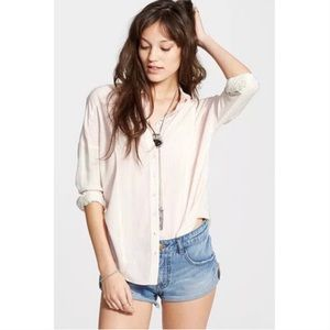 Free People Cape Town Stripe Button Front Blouse